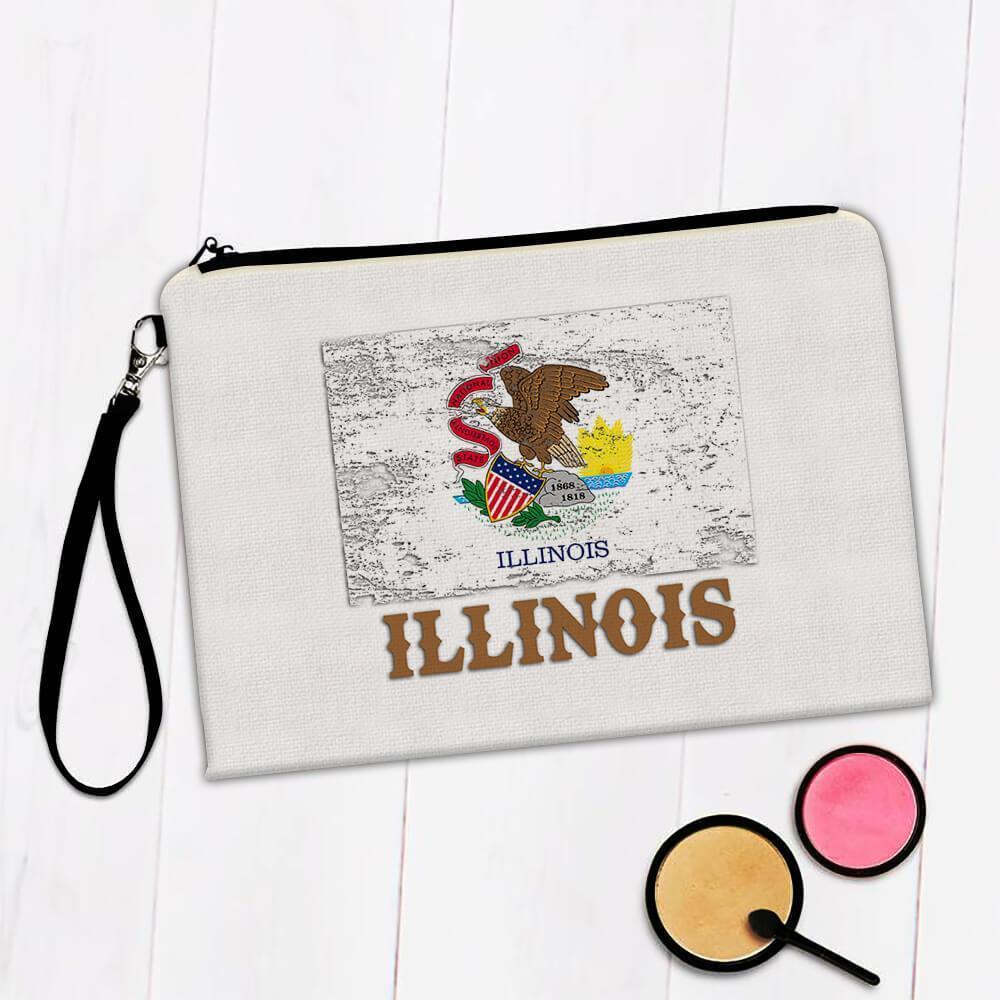 Illinois : Gift Makeup Bag Flag Distressed Souvenir State USA Christmas Coworker