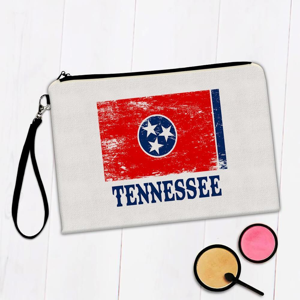 Tennessee : Gift Makeup Bag Flag Distressed Souvenir State USA Christmas Coworker