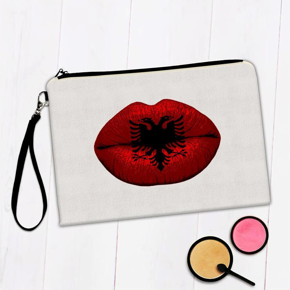 Lips Albanian Flag : Gift Makeup Bag Albania Expat Country For Her Woman Feminine Women Sexy Flags Lipstick