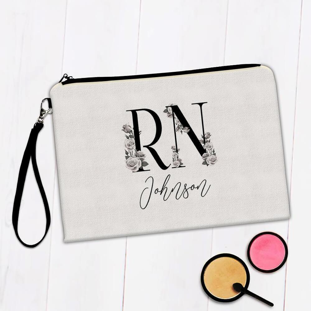 Registered Nurse Personalized : Gift Makeup Bag Boho Floral Name Nursing Smith