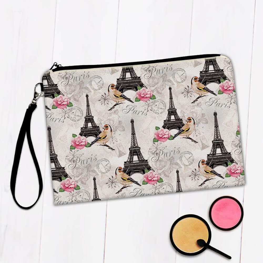 Vintage Goldfinch Paris : Gift Makeup Bag Pattern Bird Rose France Tower Stamp Garden Female Art