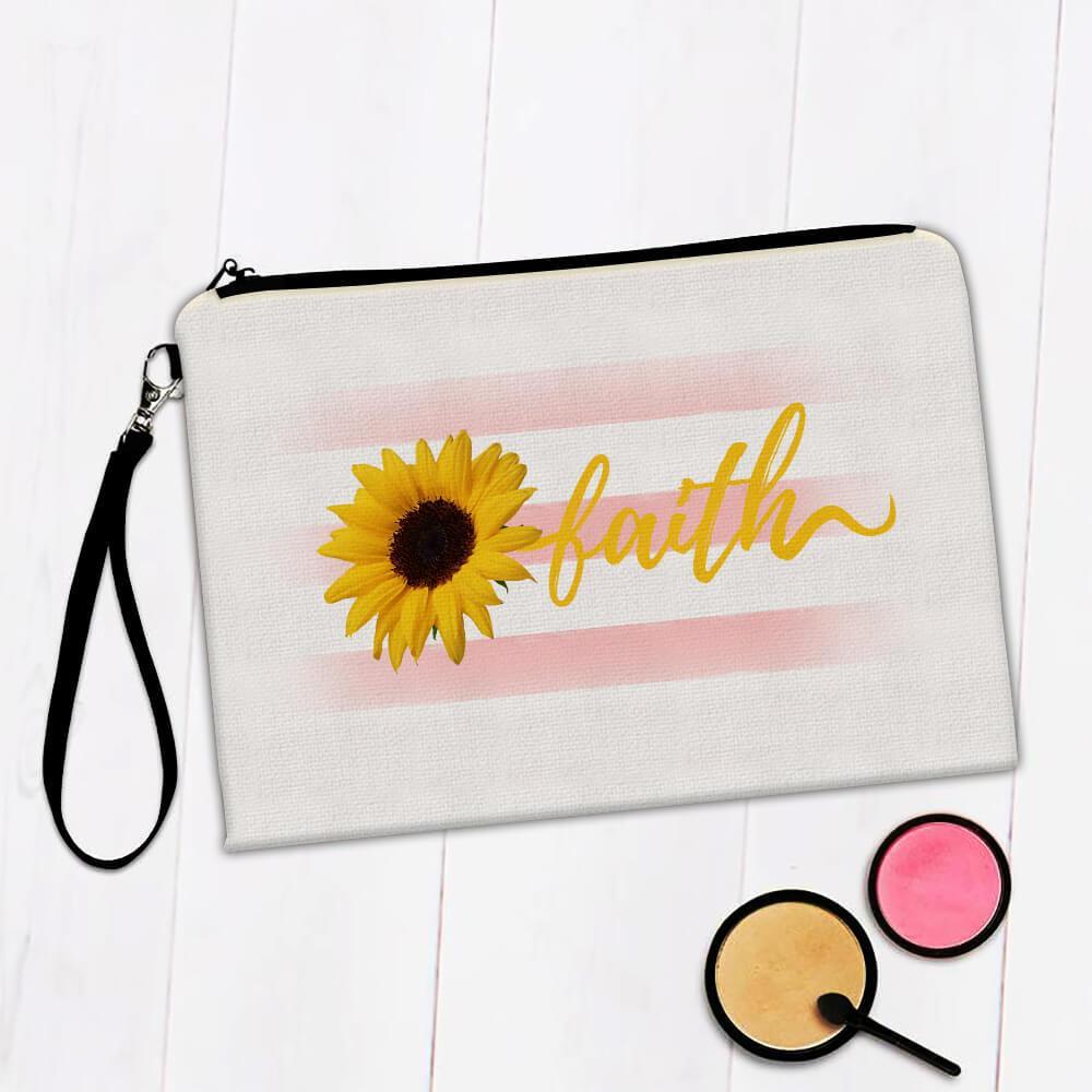 Sunflower Faith : Gift Makeup Bag Flower Floral Religion Decor Christian Catholic