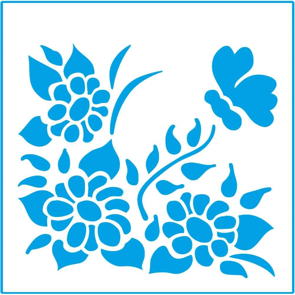 Daisies 4x4in : Laser Cut Diy Reusable Stencil 10x10cm Wall Decor Flower Tile