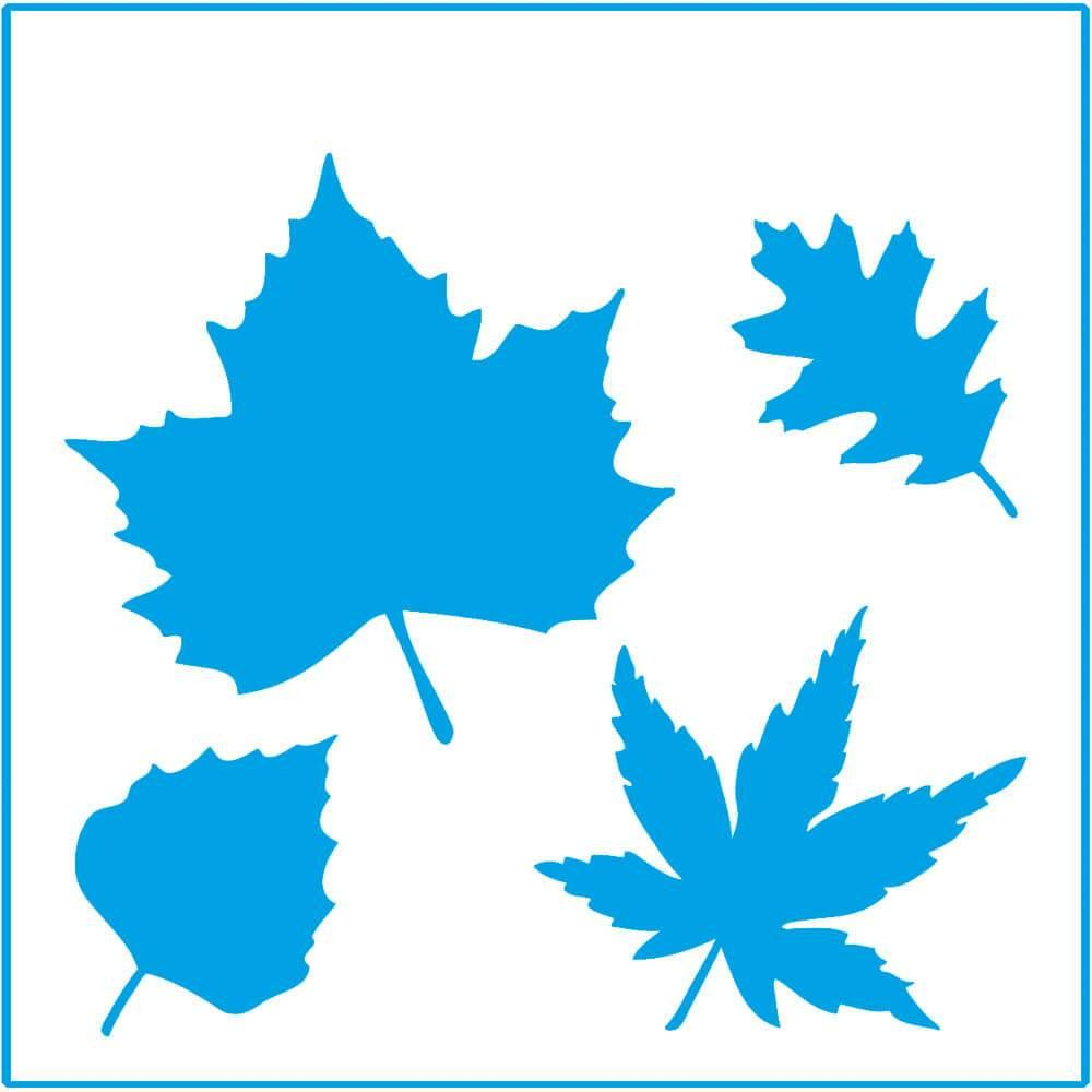 Autumn Leaves 4x4in : Laser Cut Diy Reusable Stencil 10x10cm Maple Wall Decor