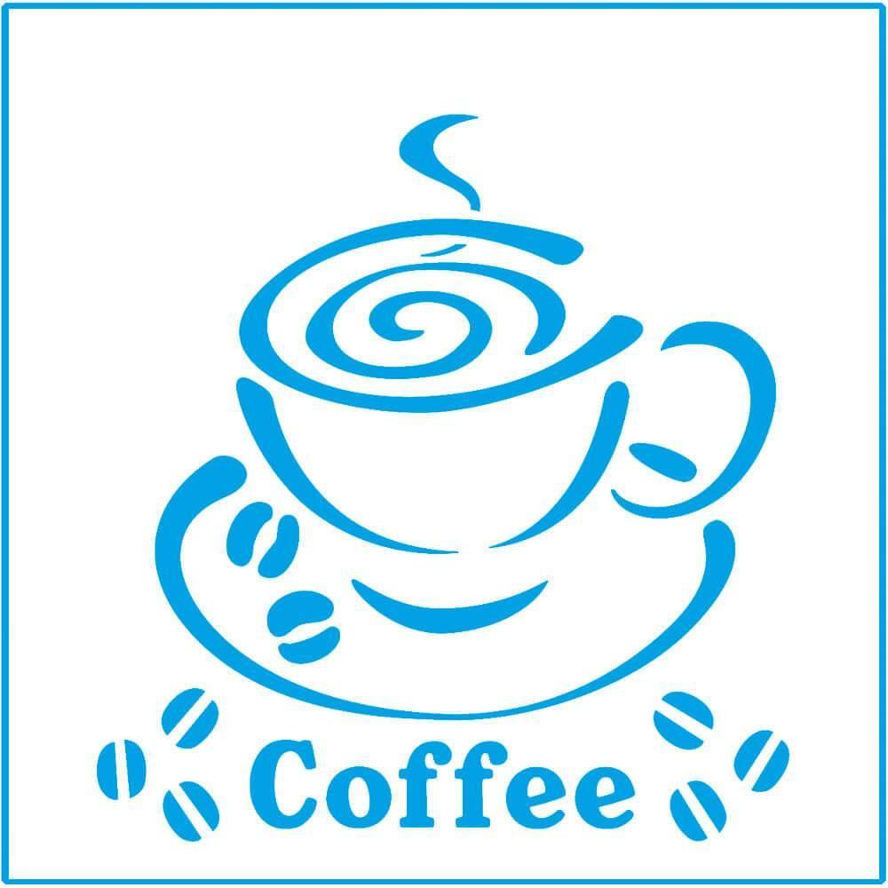 Coffee Cup 4x4in : Laser Cut Diy Reusable Stencil 10x10cm Beans Kitchen Decor