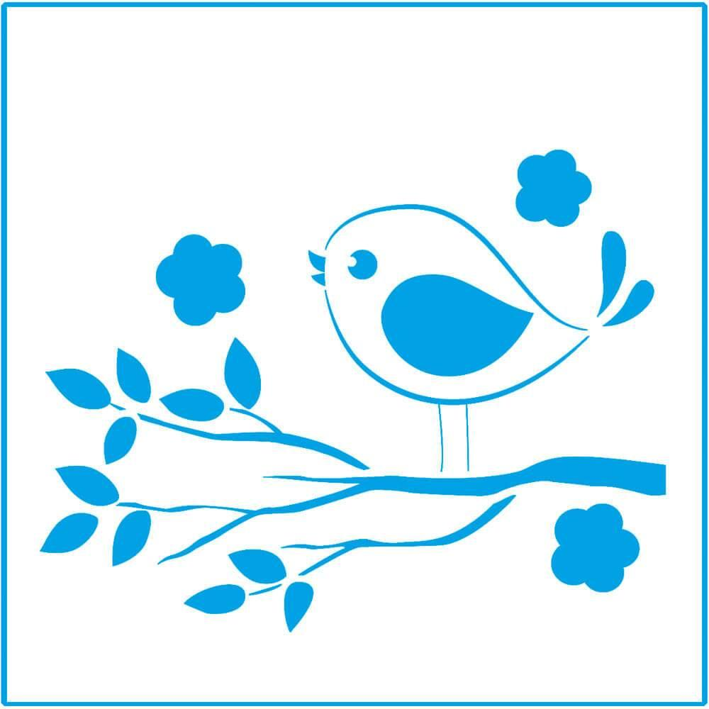 Funny Bird 4x4in : Laser Cut Diy Reusable Stencil 10x10cm Branch Leaves Garden