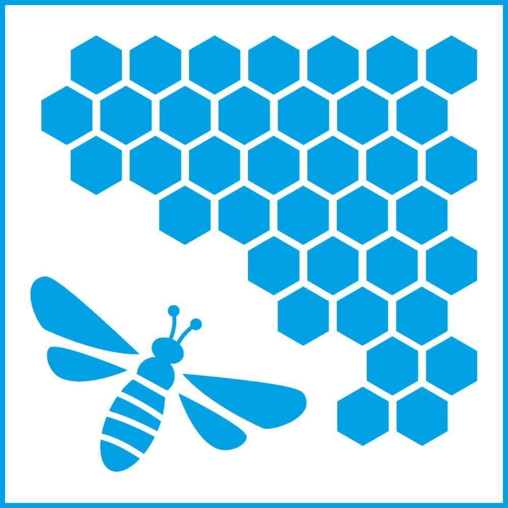 Bee Honeycomb 4x4in : Laser Cut Diy Reusable Stencil 10x10cm Insect Hive Nature