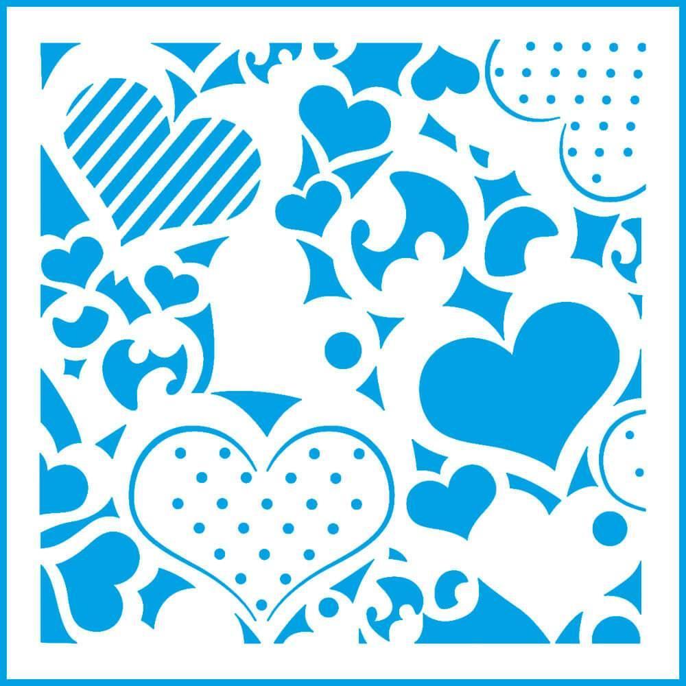 Patchwork Hearts 4x4in : Laser Cut Diy Reusable Stencil 10x10cm Valentine Room