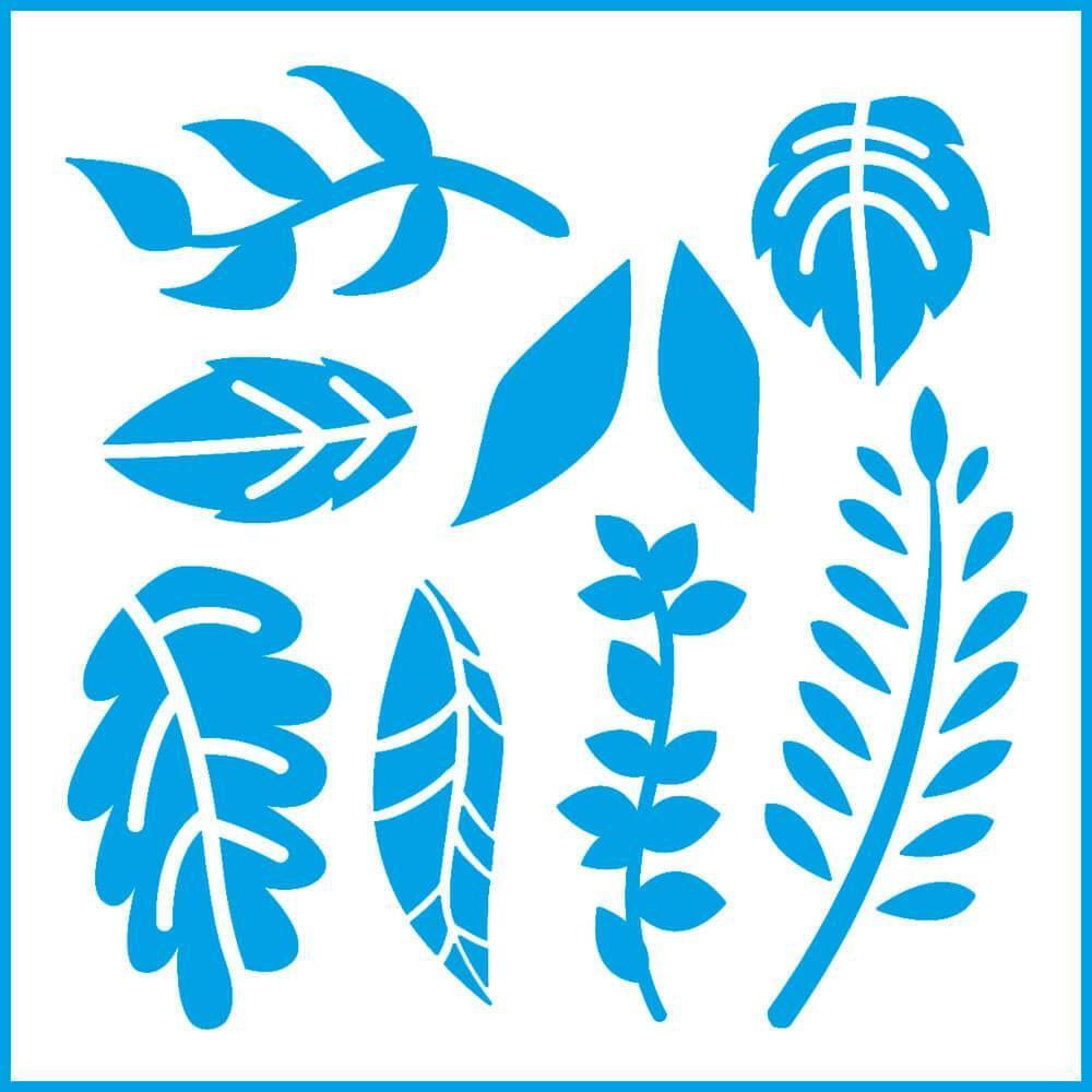 Leaves 4x4in : Laser Cut Diy Reusable Stencil 10x10cm Nature Leaf Room Decor