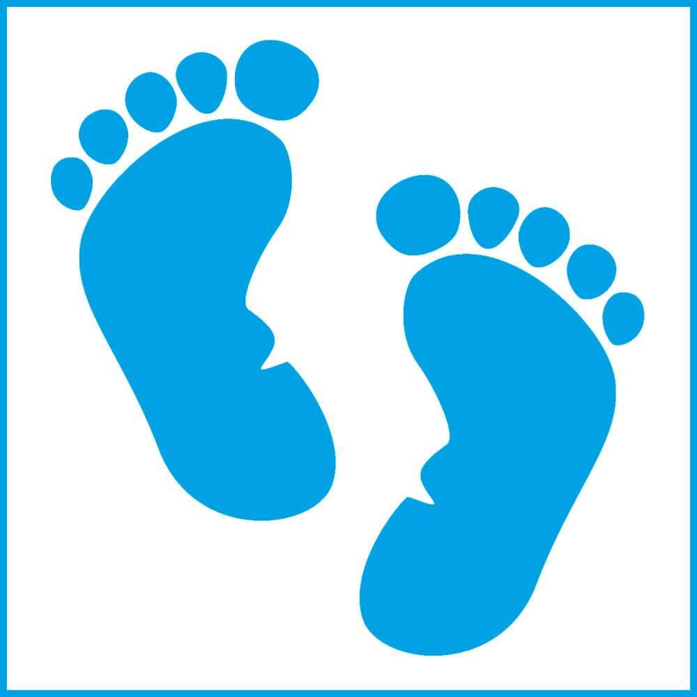 Baby Feet 4x4in : Laser Cut Diy Reusable Stencil 10x10cm Print Body Shower Room