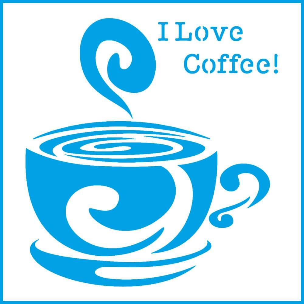 I Love Coffee 4x4in : Laser Cut Diy Reusable Stencil 10x10cm Cup Kitchen Decor