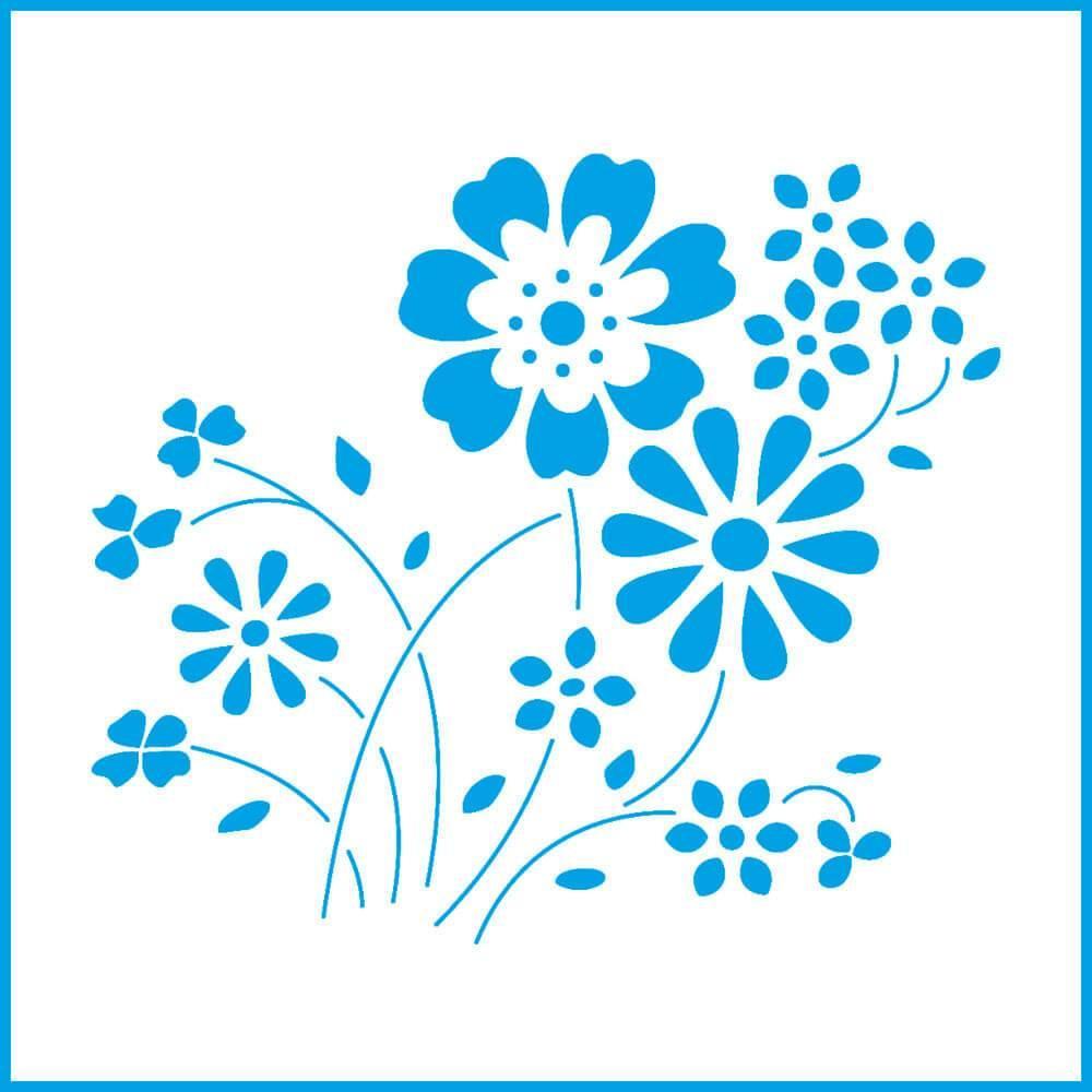 Daisies 4x4in : Laser Cut Diy Reusable Stencil 10x10cm Kitchen Flower Wall Decor