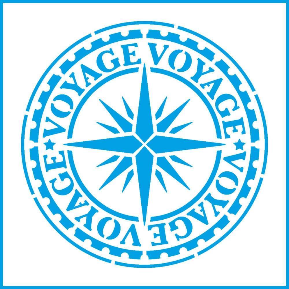 Wind Rose Voyage 4x4in : Laser Cut Diy Reusable Stencil 10x10cm Travel Seal