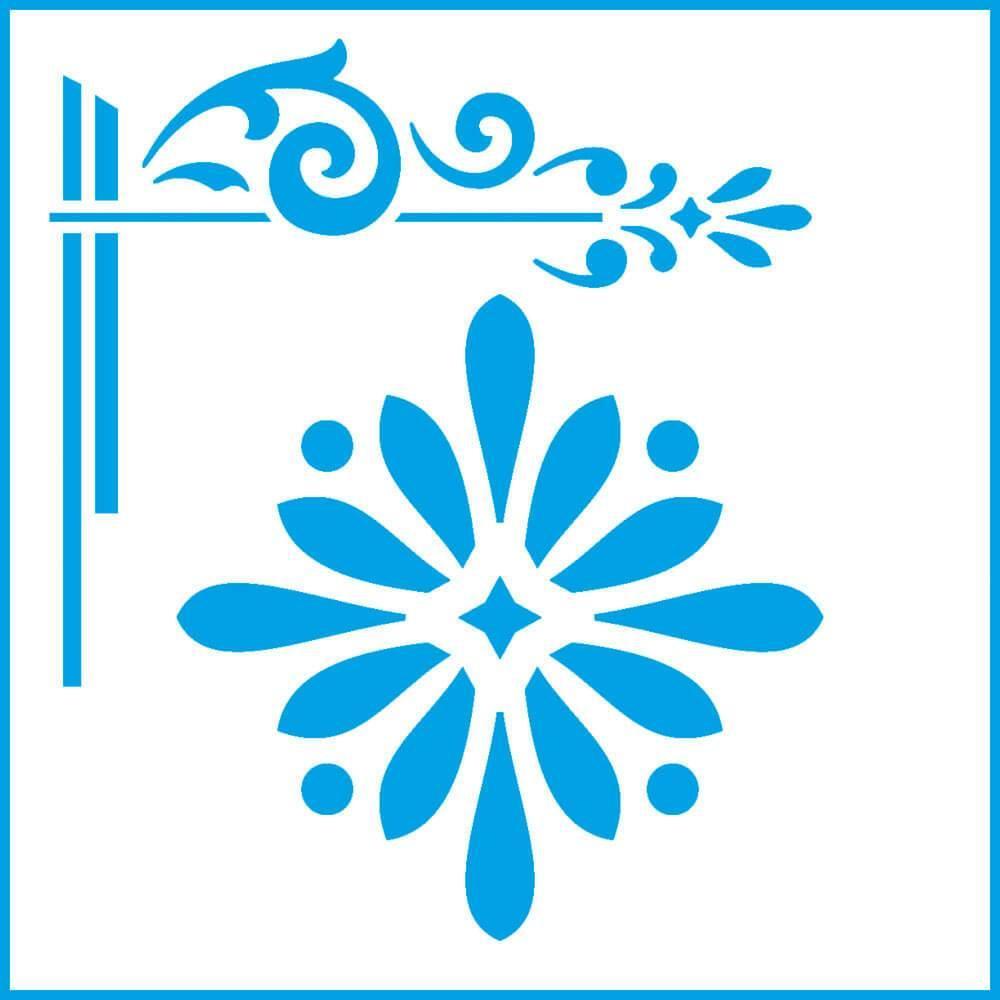 Star Flower Corner 4x4in : Laser Cut Diy Reusable Stencil 10x10cm Kitchen Wall