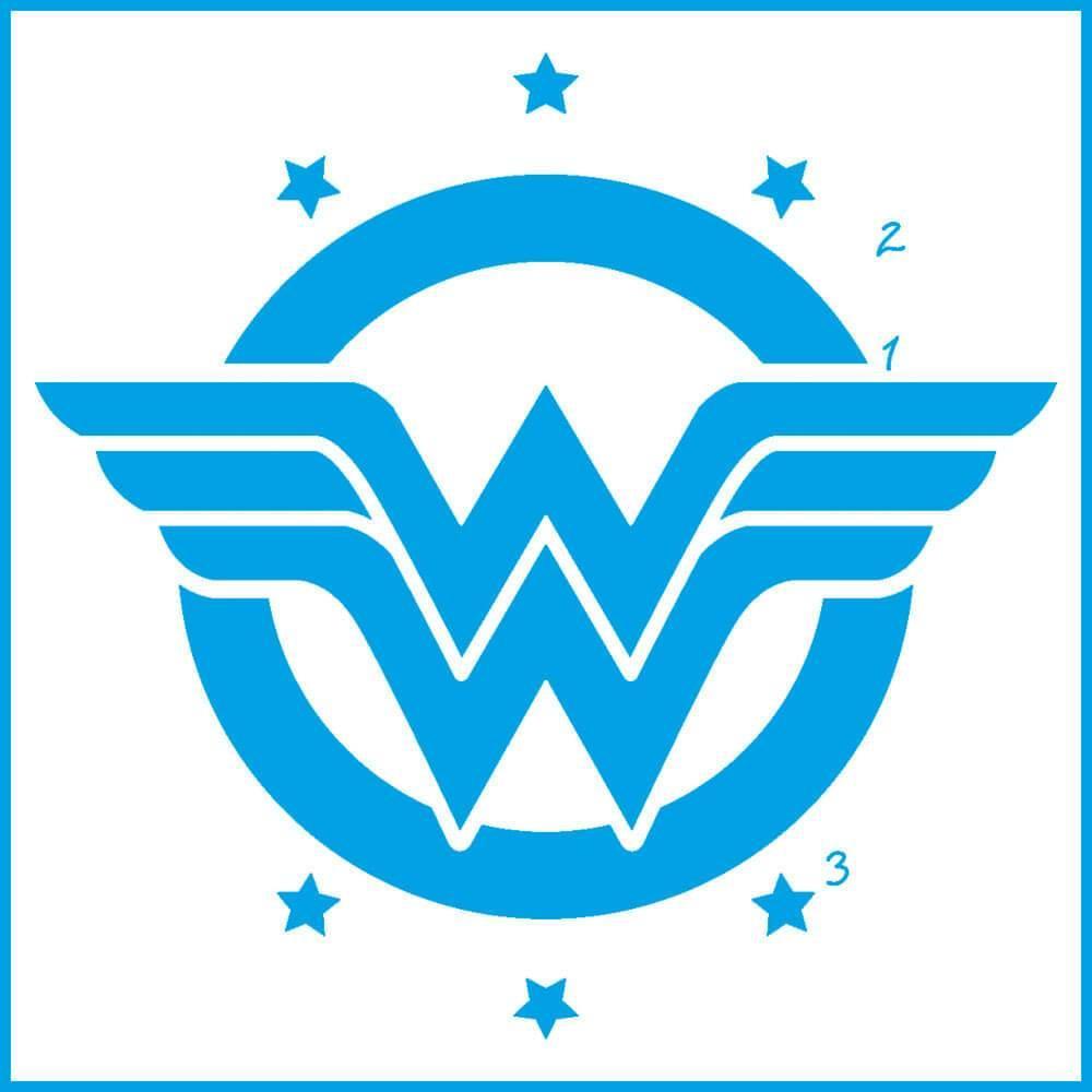 Wonder Woman 4x4in : Laser Cut Diy Reusable Stencil 10x10cm Hero Movie Character
