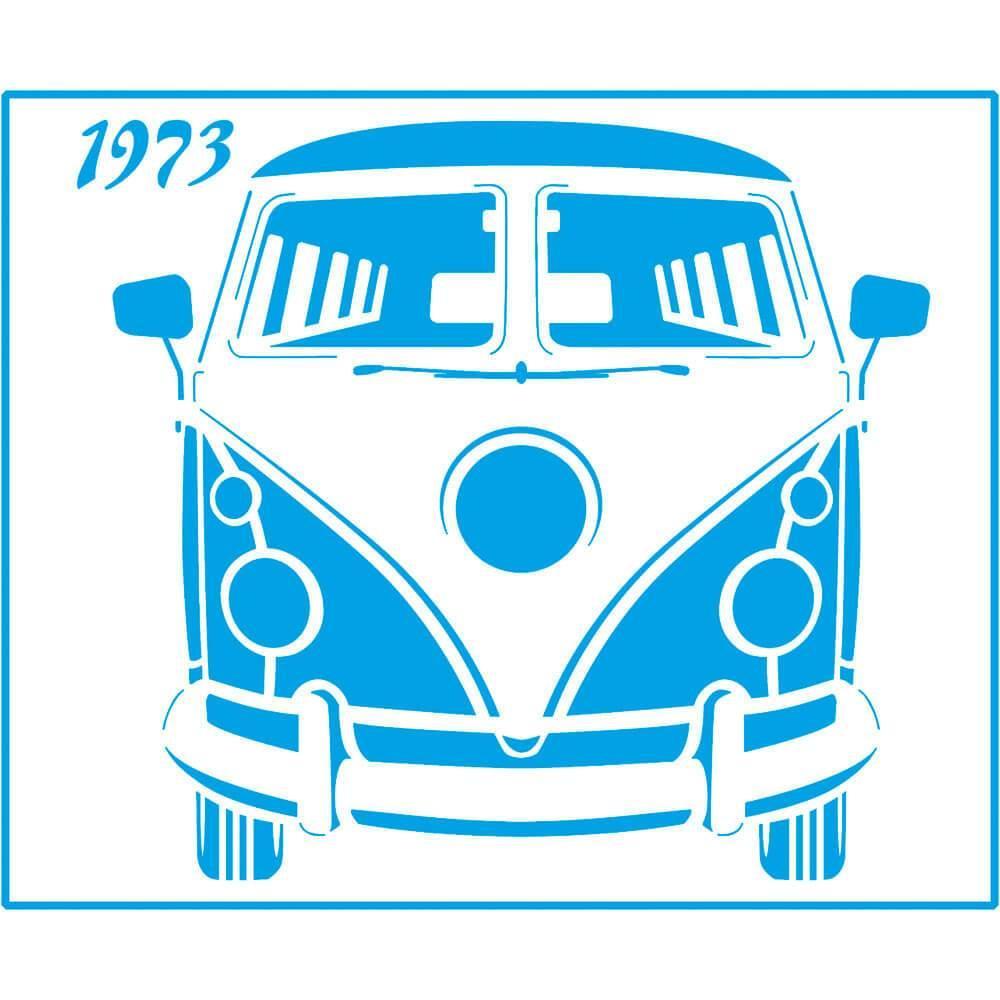 VW Van 1973 6 3/4 x 8 1/4 in : Laser Cut Stencil Diy Reusable 17x21cm Durable