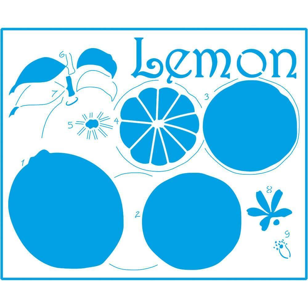 Lemon 6 3/4 x 8 1/4 in : Laser Cut Stencil Diy Reusable 17x21cm Fruit Kitchen
