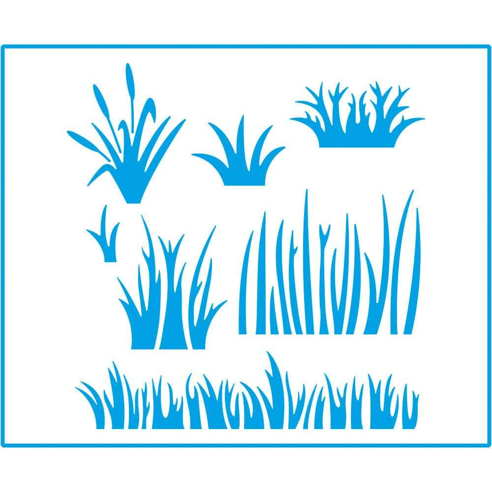 Grass 6 3/4 x 8 1/4 in : Laser Cut Stencil Diy Reusable 17x21cm Garden