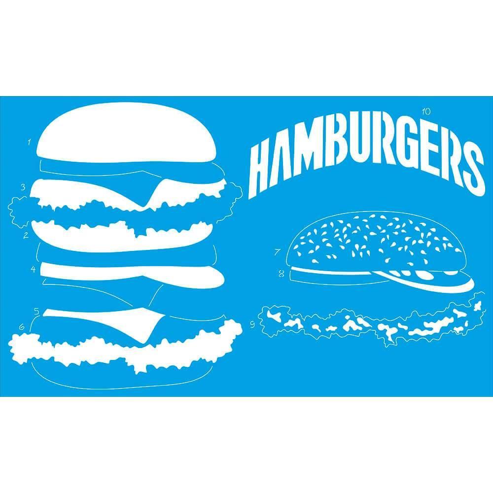 Hamburger Burger Meat 8 1/4×13 3/8 in : Diy Reusable Laser Cut Stencils 21x34cm
