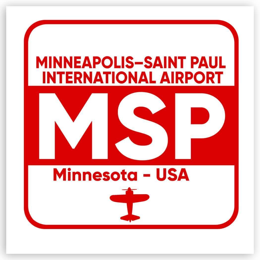 USA Minneapolis–Saint Paul Airport Minnesota MSP : Gift Sticker Travel Airline Pilot