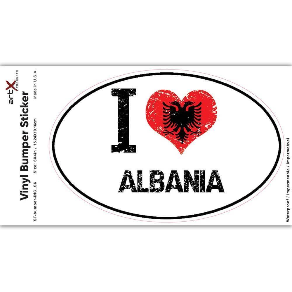 I Love Albania : Gift Sticker Heart Flag Country Crest Albanian Expat