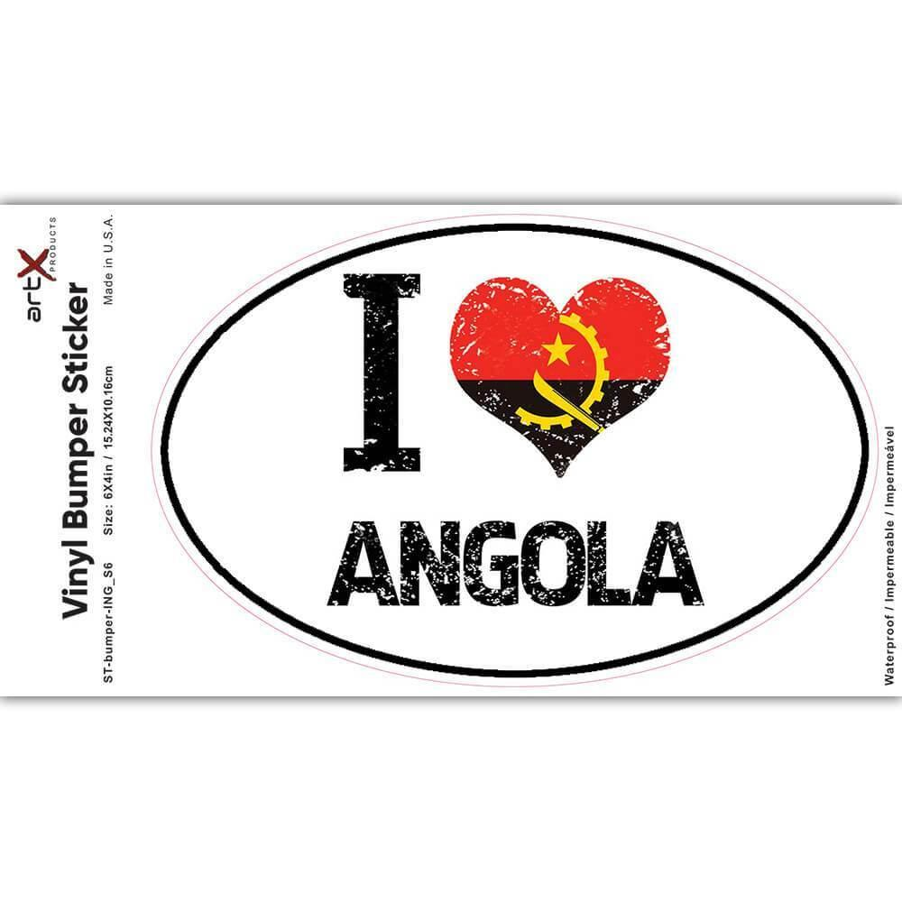 I Love Angola : Gift Sticker Heart Flag Country Crest Angolan Expat