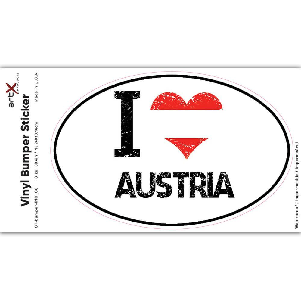 I Love Austria : Gift Sticker Heart Flag Country Crest Austrian Expat
