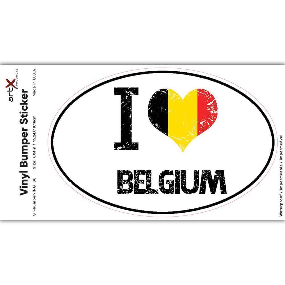 I Love Belgium : Gift Sticker Heart Flag Country Crest Belgian Expat