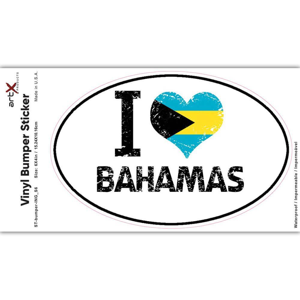 I Love Bahamas : Gift Sticker Heart Flag Country Crest Bahamian Expat