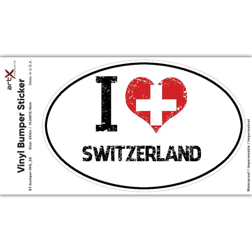 I Love Switzerland : Gift Sticker Heart Flag Country Crest Swiss Expat