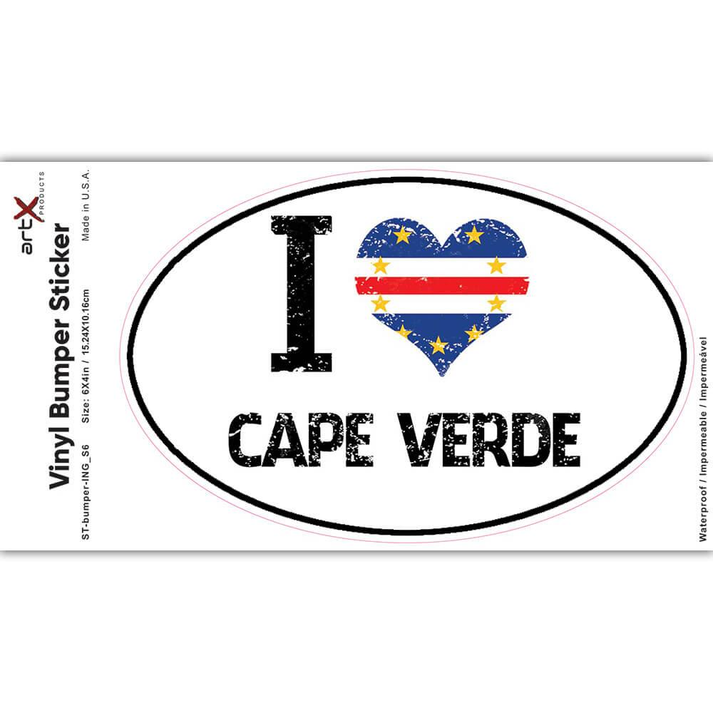 I Love Cape Verde : Gift Sticker Heart Flag Country Crest Cape Verdean Expat