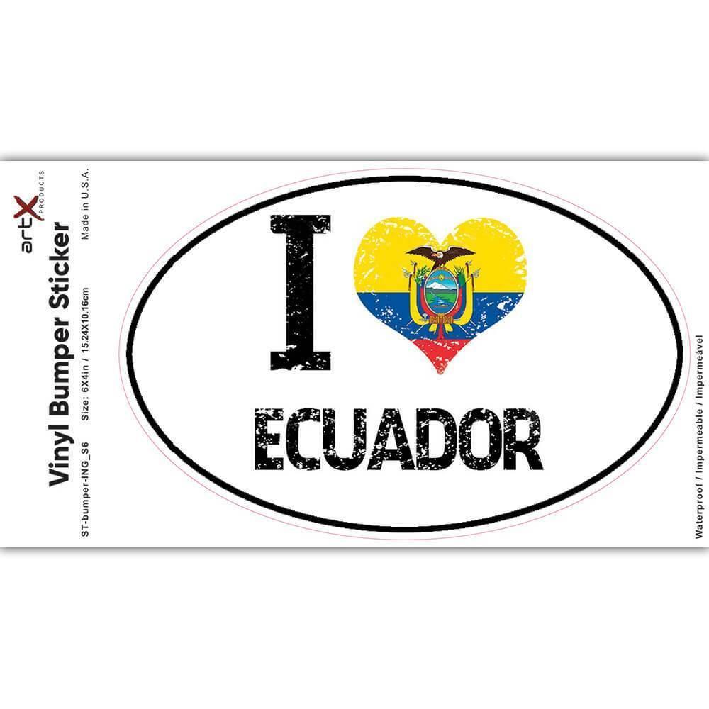 I Love Ecuador : Gift Sticker Heart Flag Country Crest Ecuadorian Expat