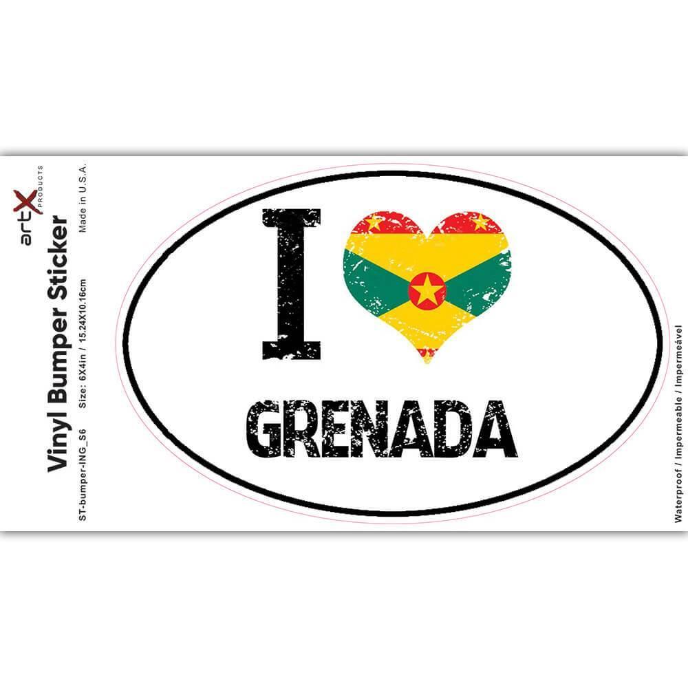 I Love Grenada : Gift Sticker Heart Flag Country Crest Grenadian Expat