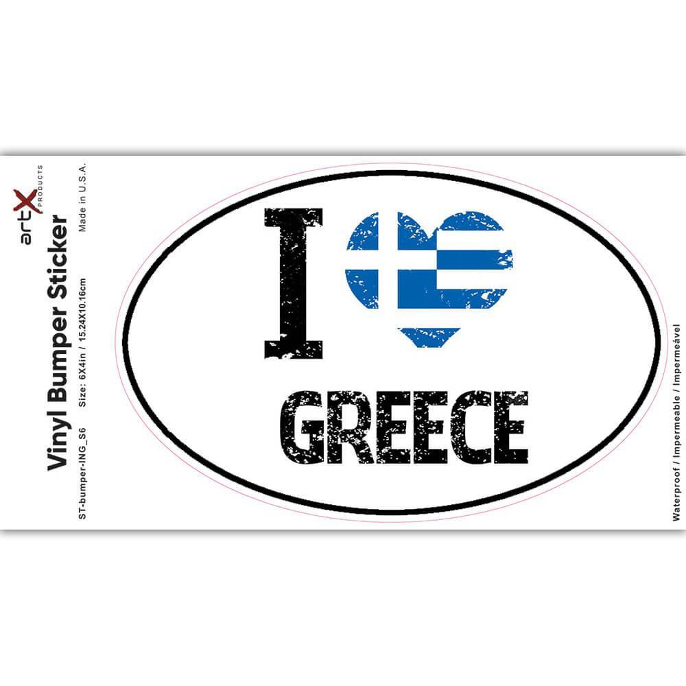 I Love Greece : Gift Sticker Heart Flag Country Crest Greek Expat