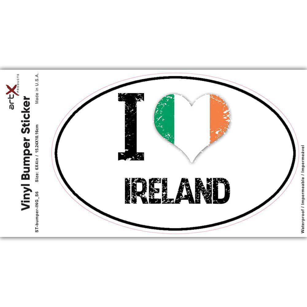 I Love Ireland : Gift Sticker Heart Flag Country Crest Irish Expat