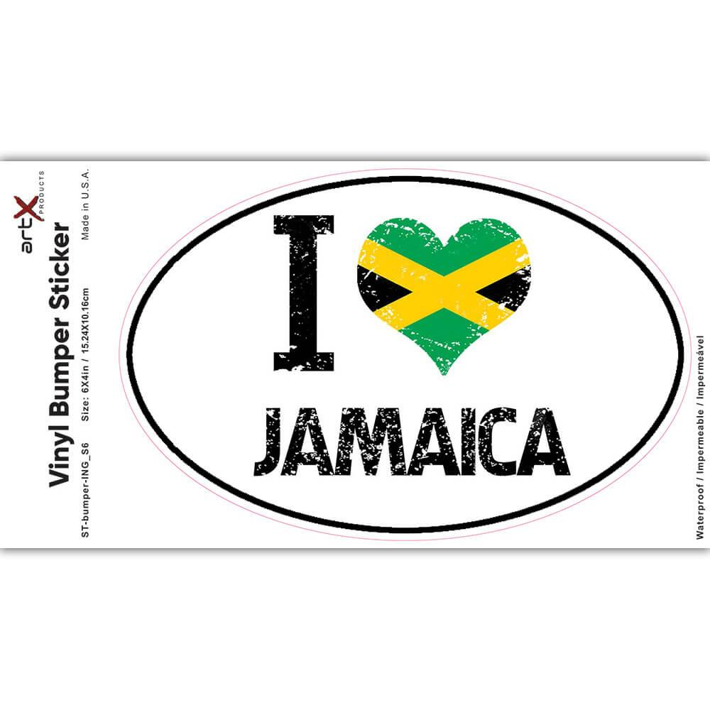 I Love Jamaica : Gift Sticker Heart Flag Country Crest Jamaican Expat