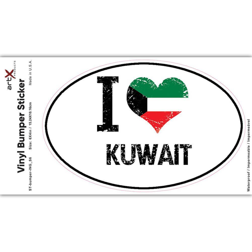 I Love Kuwait : Gift Sticker Heart Flag Country Crest Kuwaiti Expat