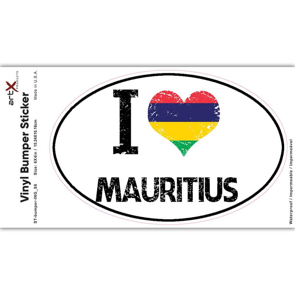I Love Mauritius : Gift Sticker Heart Flag Country Crest Mauritian Expat