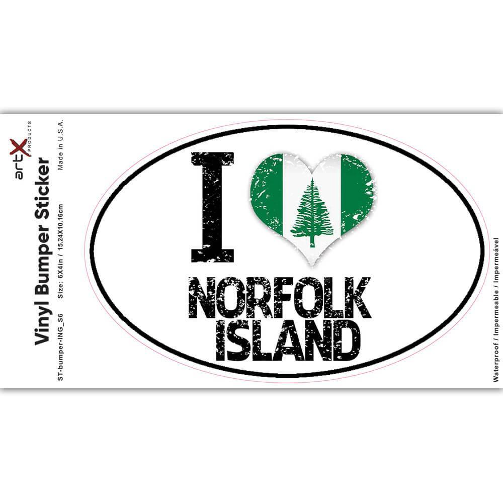 I Love Norfolk Island : Gift Sticker Heart Flag Country Crest Expat