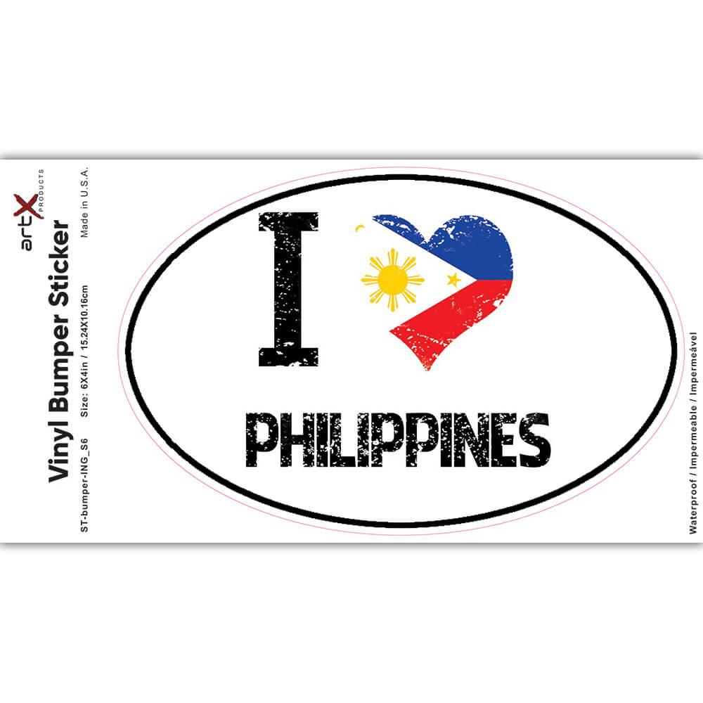I Love Philippines : Gift Sticker Heart Flag Country Crest Filipino Expat