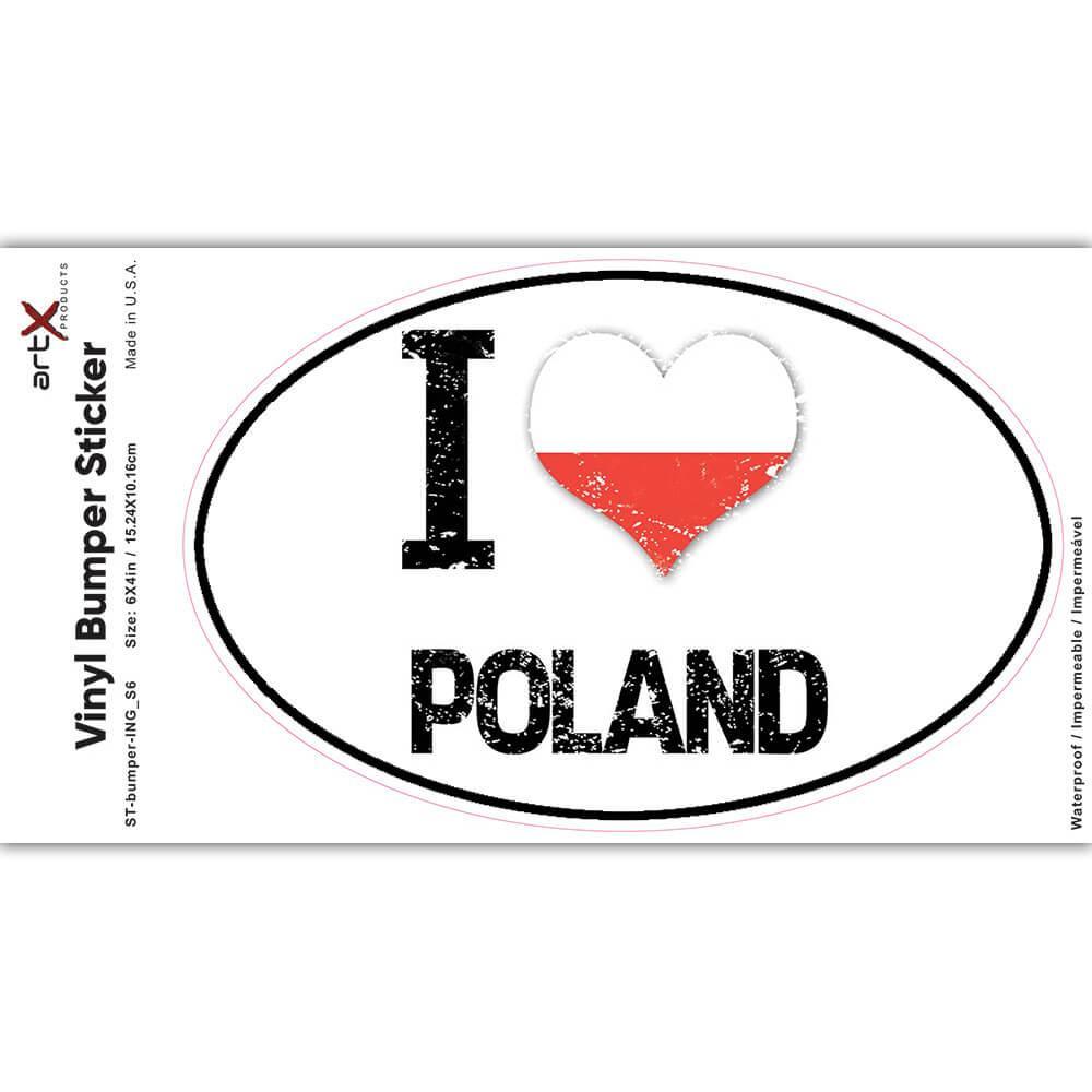 I Love Poland : Gift Sticker Heart Flag Country Crest Polish Expat