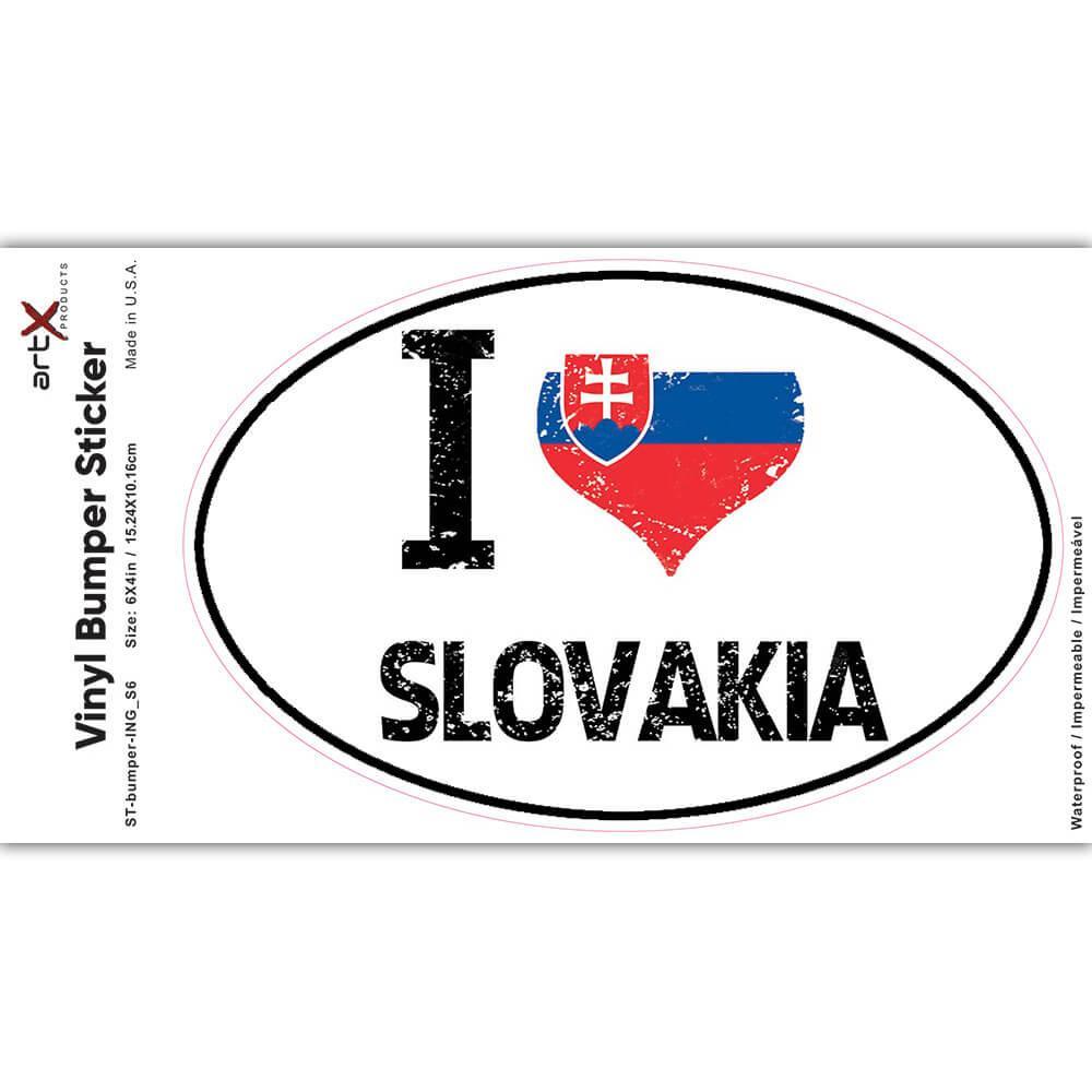 I Love Slovakia : Gift Sticker Heart Flag Country Crest Slovak Expat