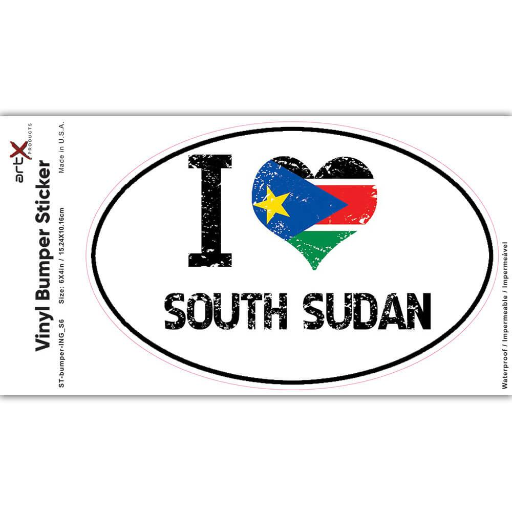 I Love South Sudan : Gift Sticker Heart Flag Country Crest South Sudanese Expat