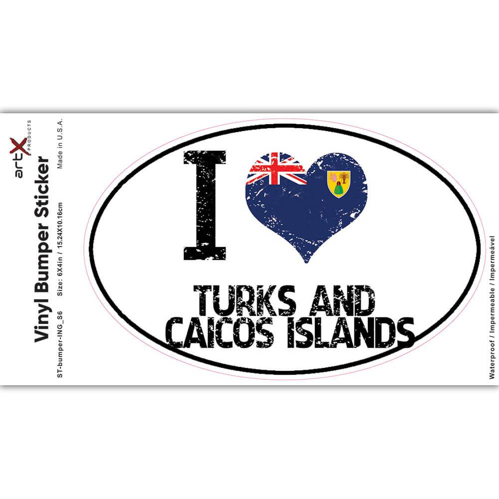 I Love Turks and Caicos Islands : Gift Sticker Heart Flag Country Crest Islander