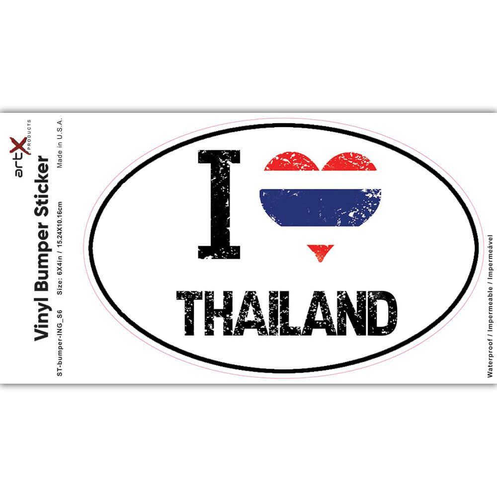 I Love Thailand : Gift Sticker Heart Flag Country Crest Thai Expat