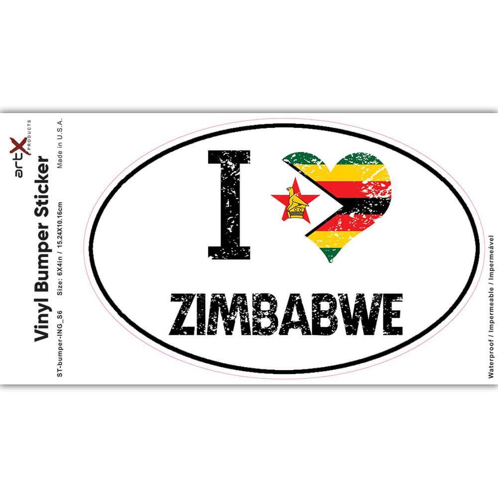 I Love Zimbabwe : Gift Sticker Heart Flag Country Crest Zimbabwean Expat