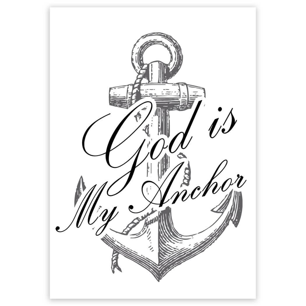 God is My Anchor : Gift Sticker Christian Religious Catholic Jesus Faith