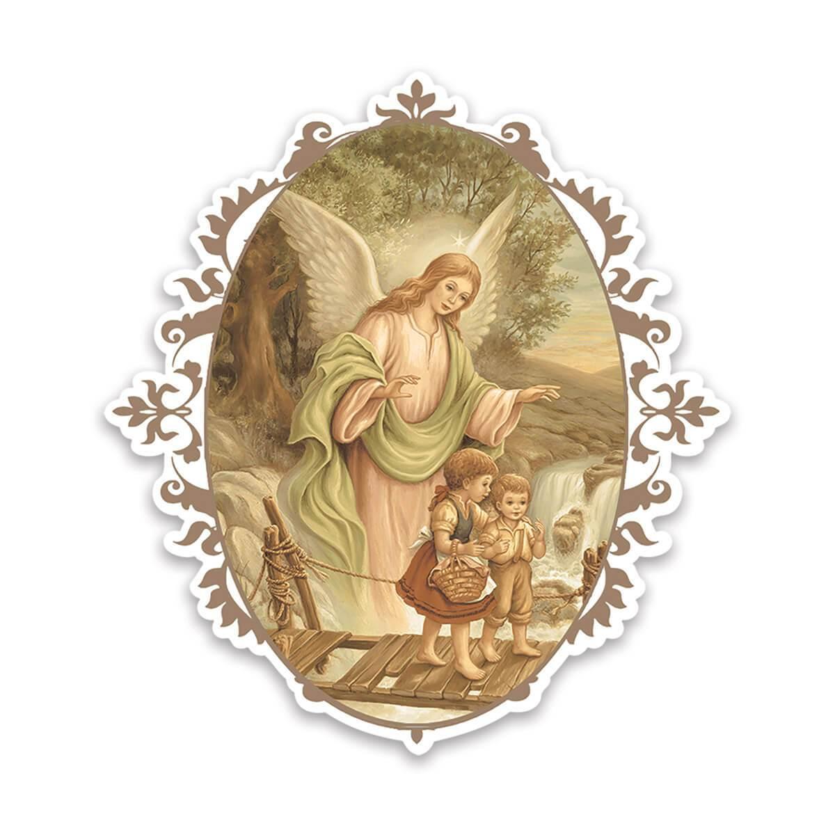 Guardian Angel : Gift Sticker Catholic Religious Saint Vintage