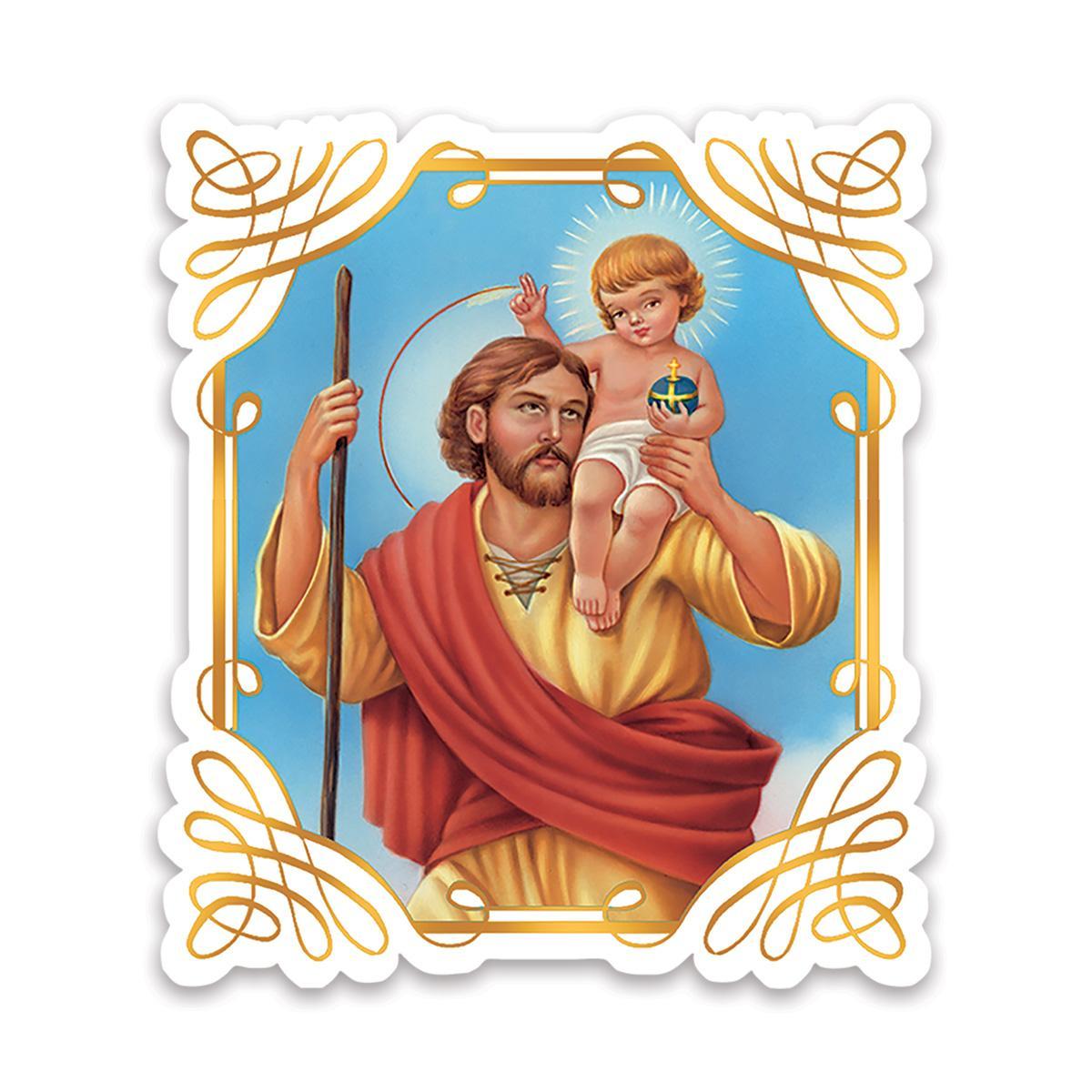 Saint Christopher : Gift Sticker Catholic Religious Religion Classic Faith