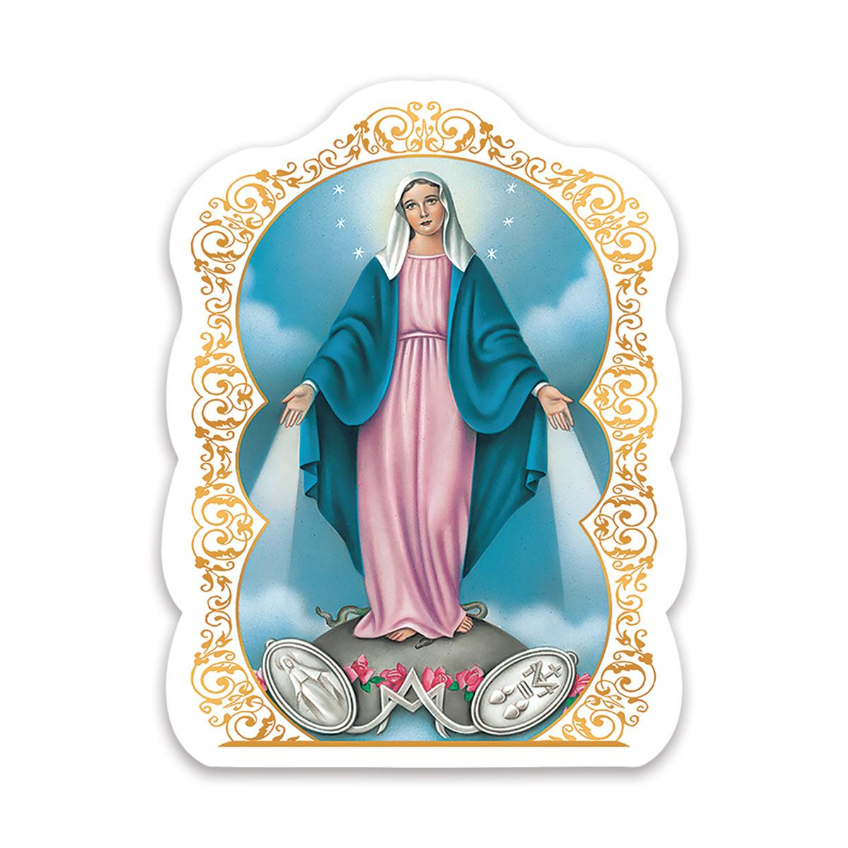 Our Lady of Grace and Medal : Gift Sticker Religious Virgin Mary Catholic Saint